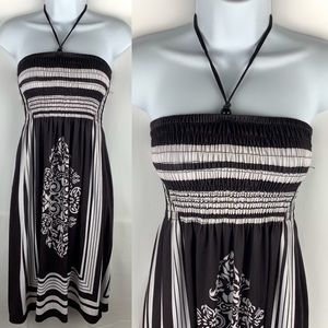 CristinaLove Dress Brown & White Flourish Stripe